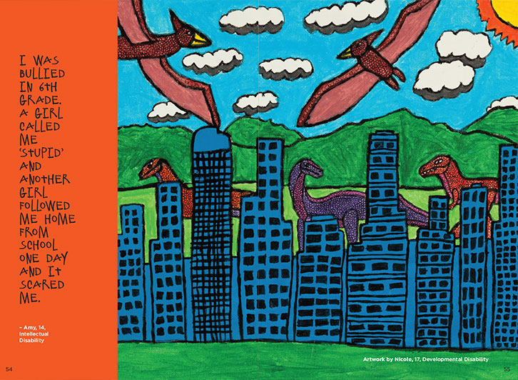 Image of example pages showing dinosaur artwork and text. Drawing of dinosaurs around city highrises, with some flying in clouds. Orange bar on the left contains the quote..