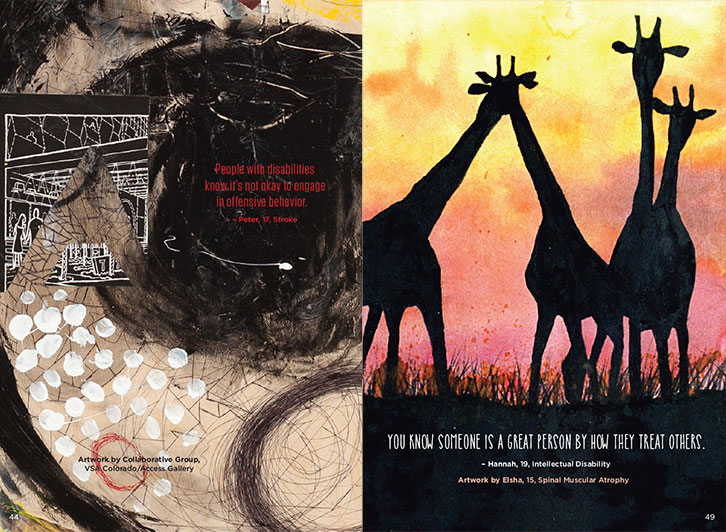 Image of example pages showing artwork and text. Left page shows a darker collaborative art piece with black and white paint with the quote in red. Right page shows a painting of giraffes in silhouette with sunset behind, and artist quote at the bottom.