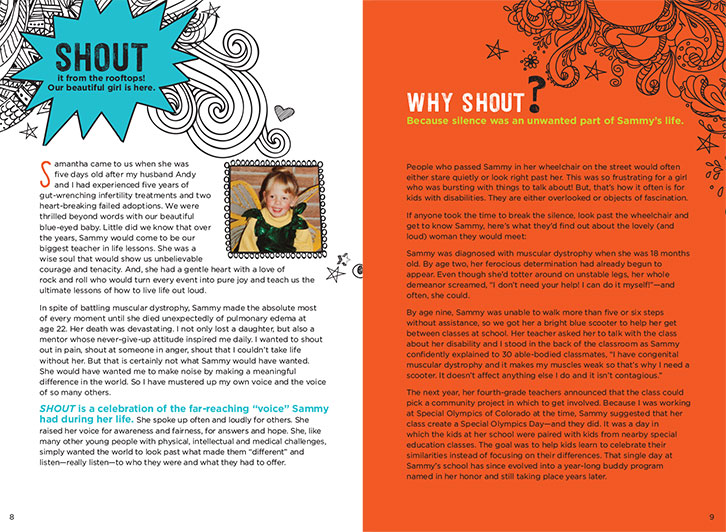 Example of Introductory Page in Shout Book. Two pages of introduction, with fun, colorful and energetic illustrations.