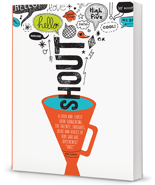 "Photo of ""SHOUT"" book. Cover is mostly white, with a orange megaphone turned sideways. The word ""SHOUT"" is coming out of the end of the megaphone toward the top of the book. There are also colorful illustrations of quotes and talk bubbles that says things like ""hello"" and ""cool"" and ""my buddy."""
